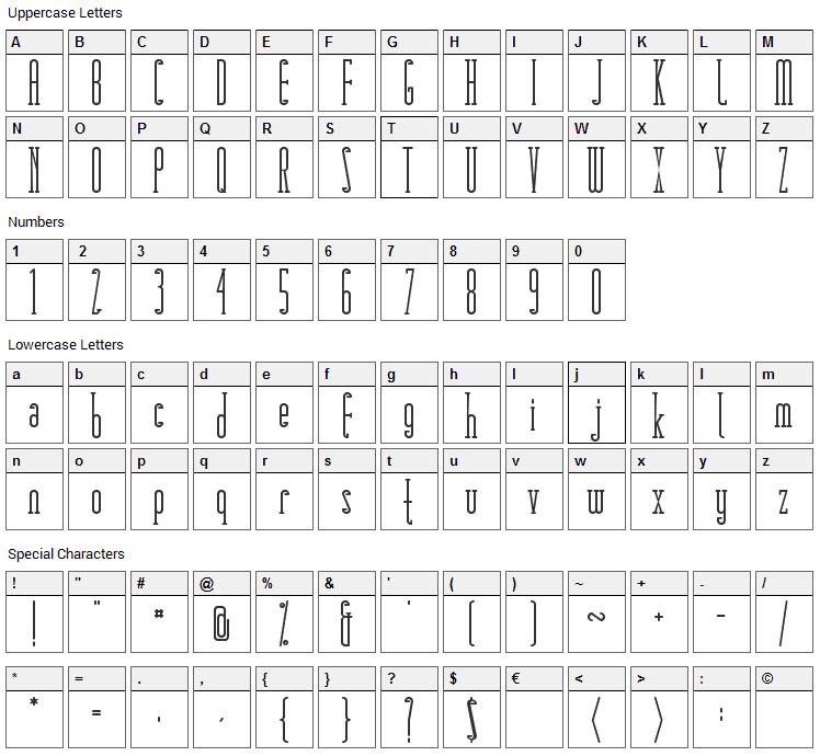Matchbook Serif Font Character Map