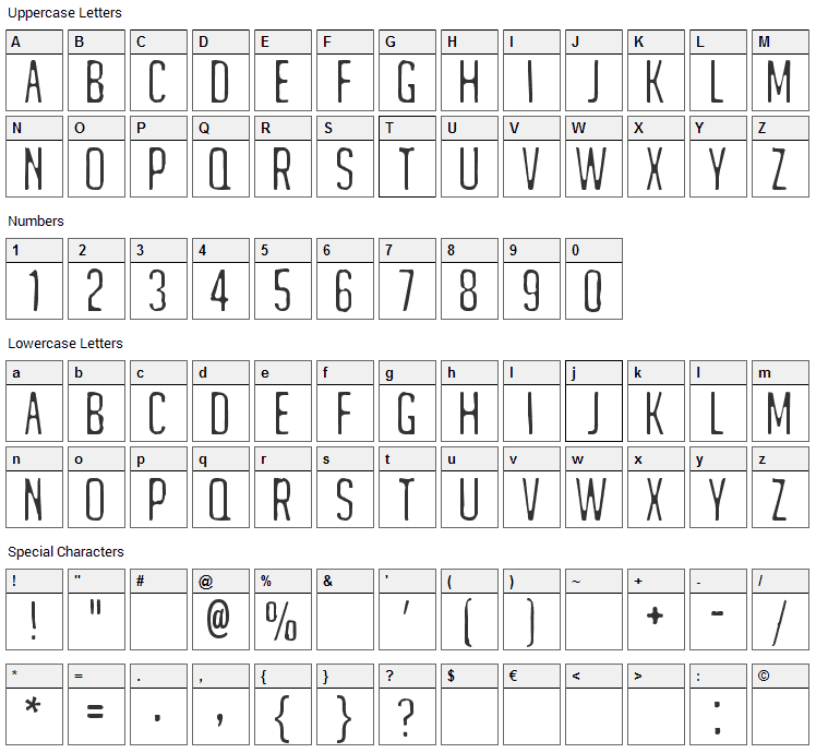 Matejino Font Character Map