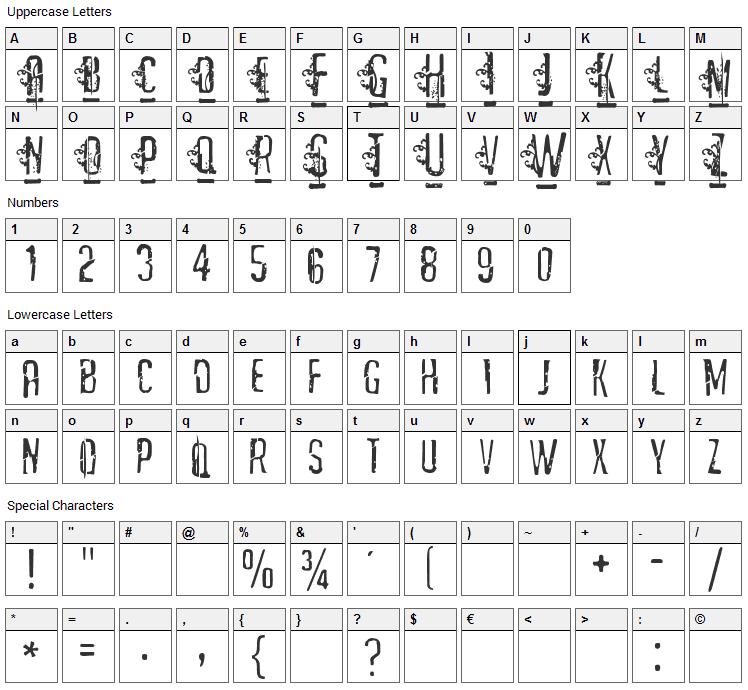 Matejo Font Character Map