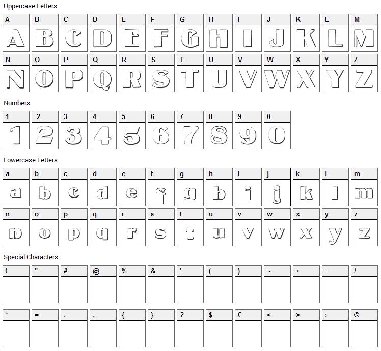 MateusBold Font Character Map