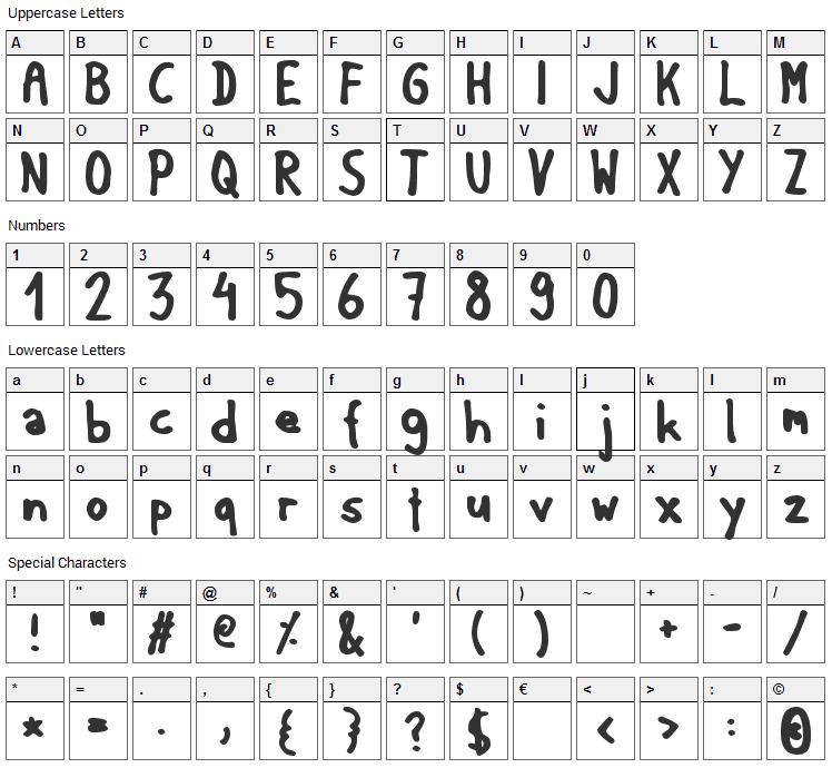 Matilda Font Character Map