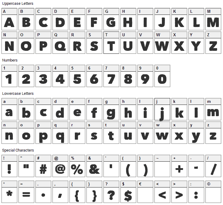 Matiz Font Character Map