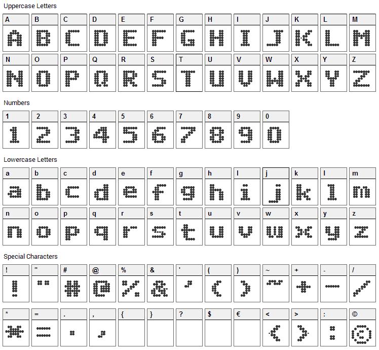 Matrix Complex Font Character Map