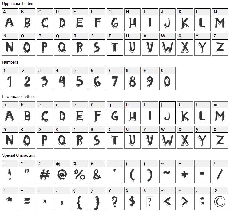 Matryoshka Font Character Map