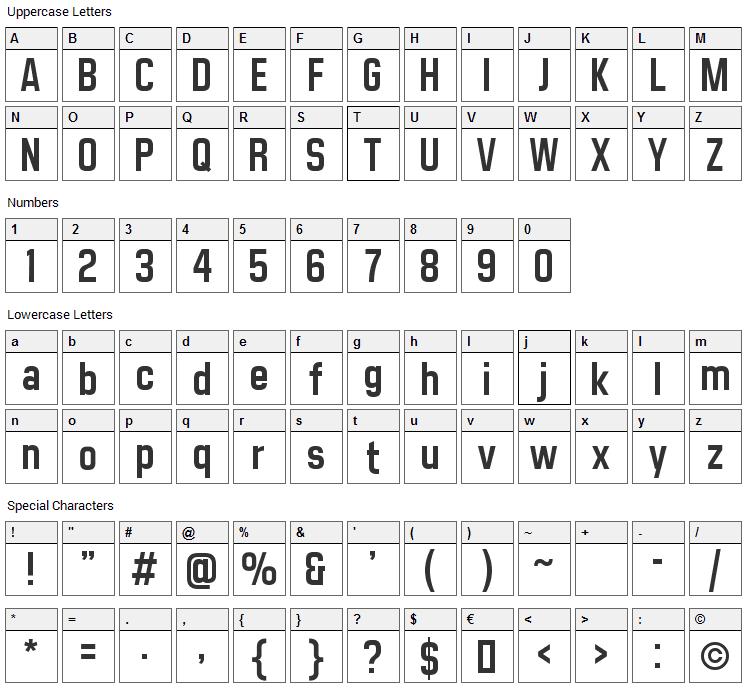 Matthan Sans Font Character Map