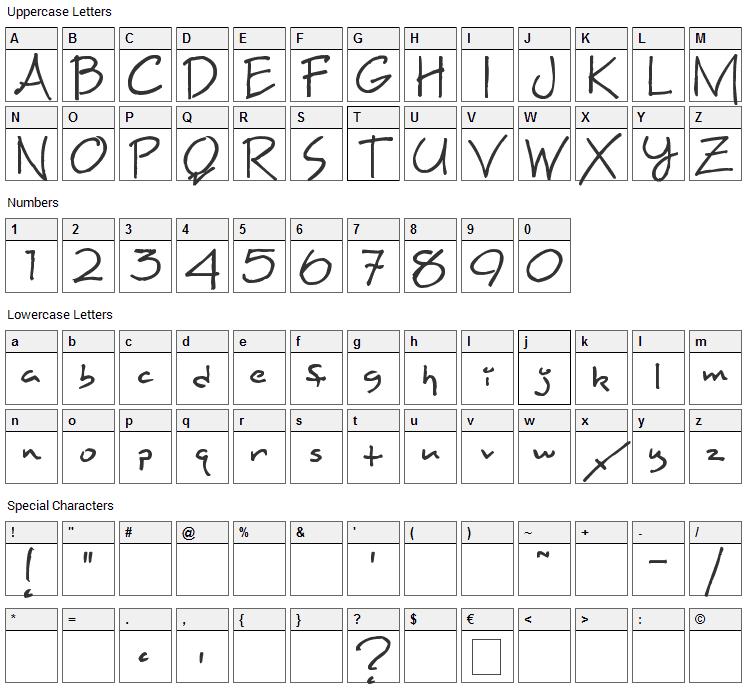 Maxine Script Font Character Map