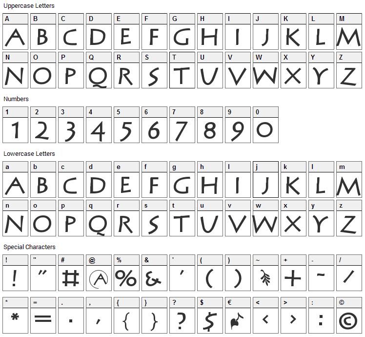 MCapitals Font Character Map