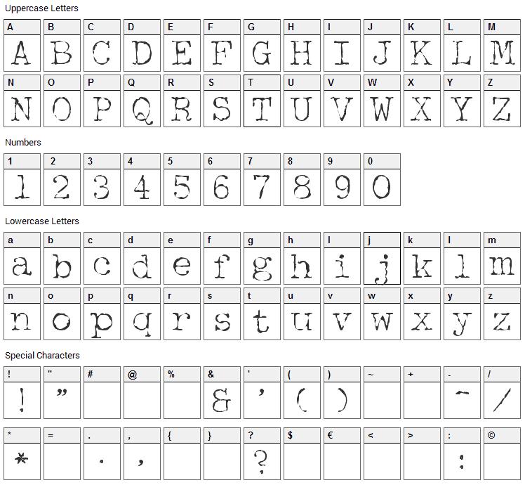 McGarey Font Character Map