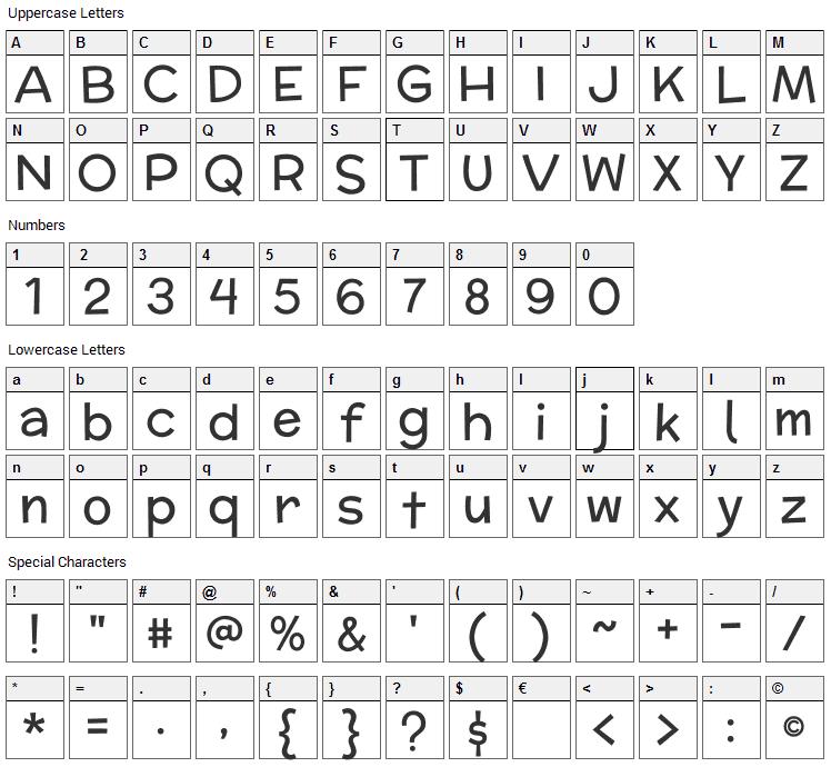 McLaren Font Character Map