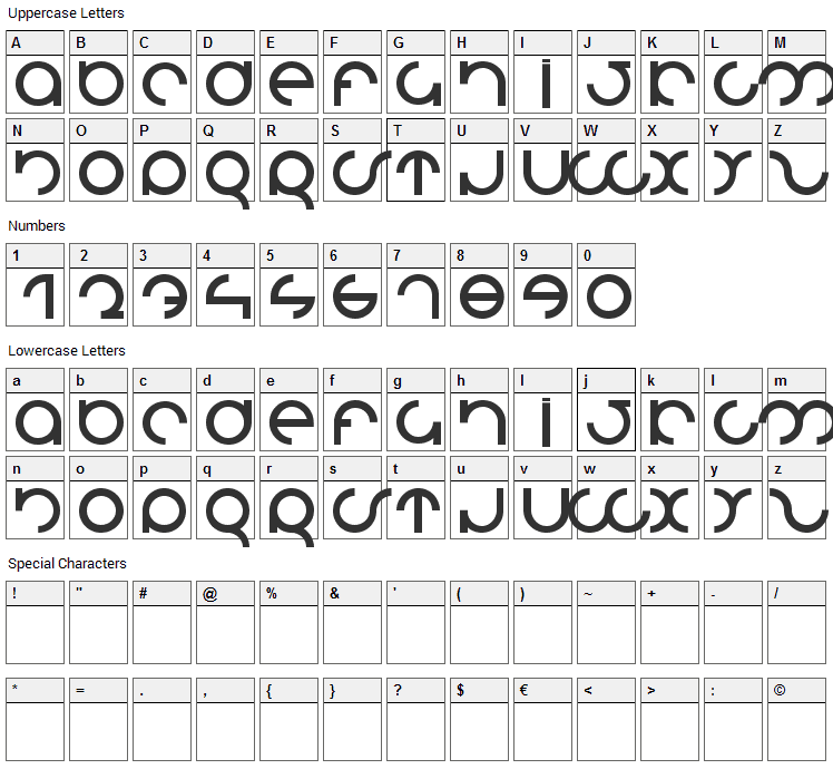 MDRS-FD01 Font Character Map