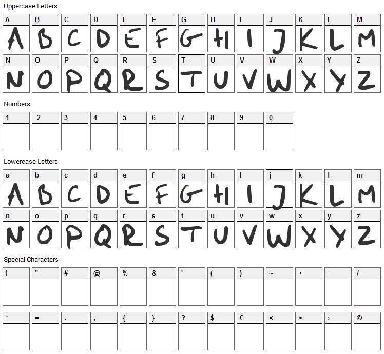 Me Handwritin Bold Font Character Map