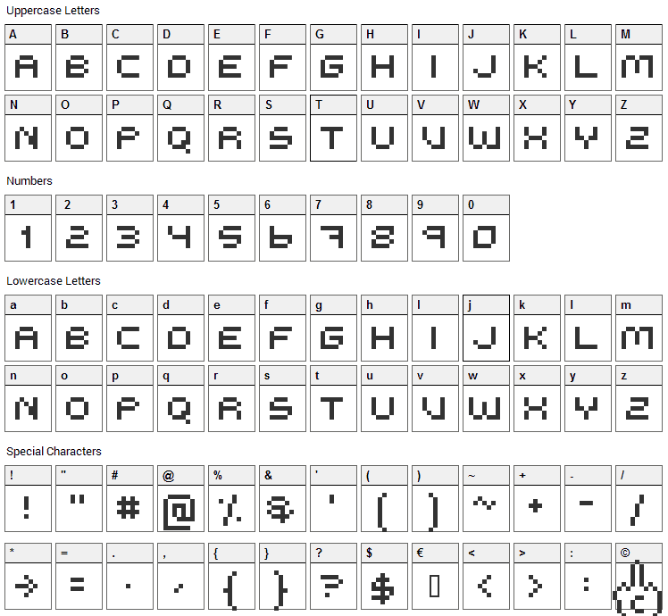 Me Too Pixzi Font Character Map