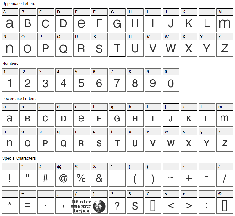 Mean 26 Sans Font Character Map