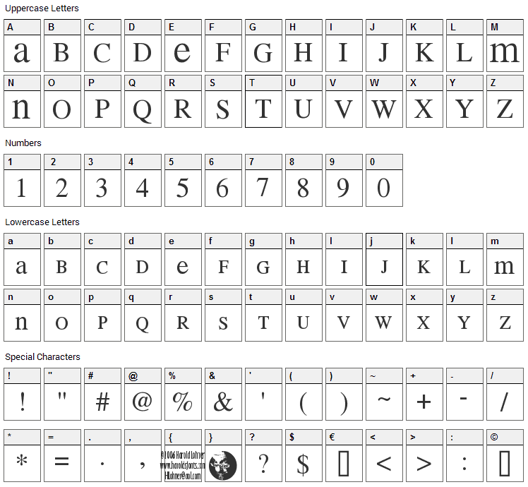 Mean 26 Serif Font Character Map