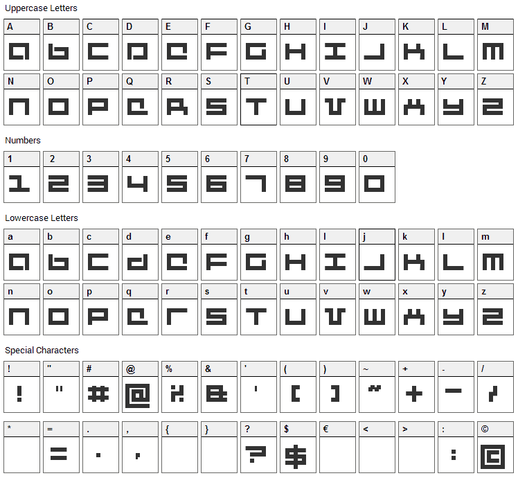 Mecha + Mechanic Font Character Map