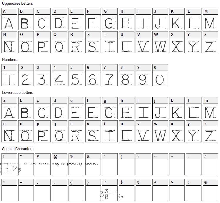 Mechanical Fun Font Character Map