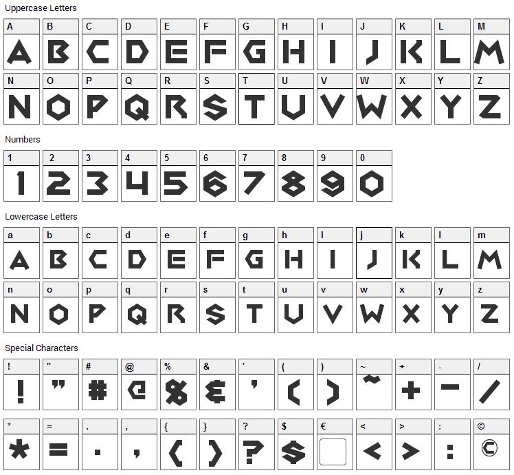 Medabots Font Character Map