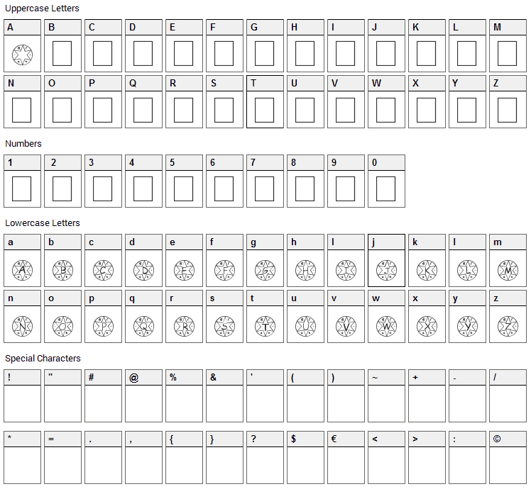 Medalhao Font Character Map