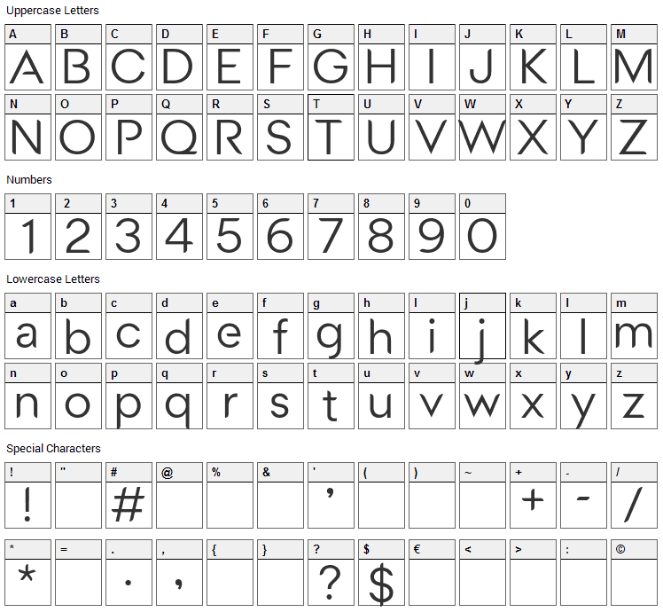 Medel Font Character Map