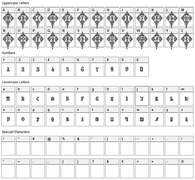 Medieval Sorcerer Ornamental Font Character Map