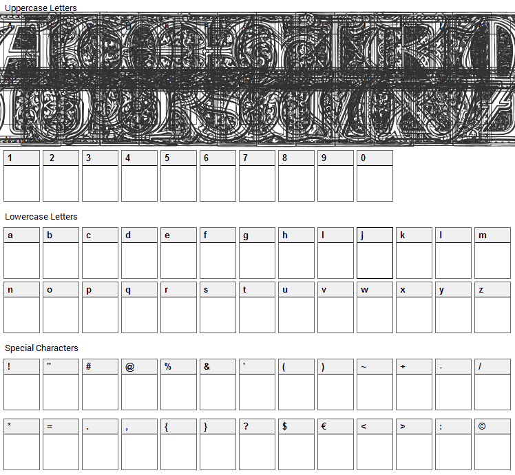 Medieval Victoriana Font Character Map