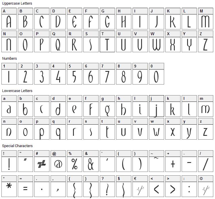 Meditation Font Character Map