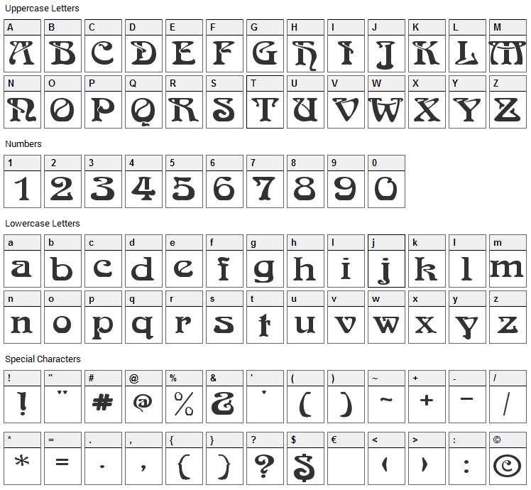Medusa Font Character Map
