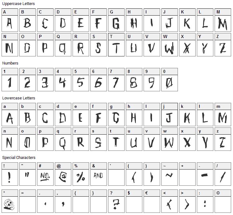 Meet John Henry Font Character Map