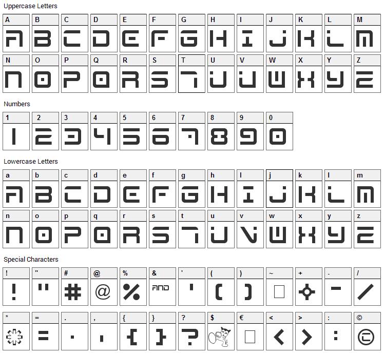 Mega  Font Character Map