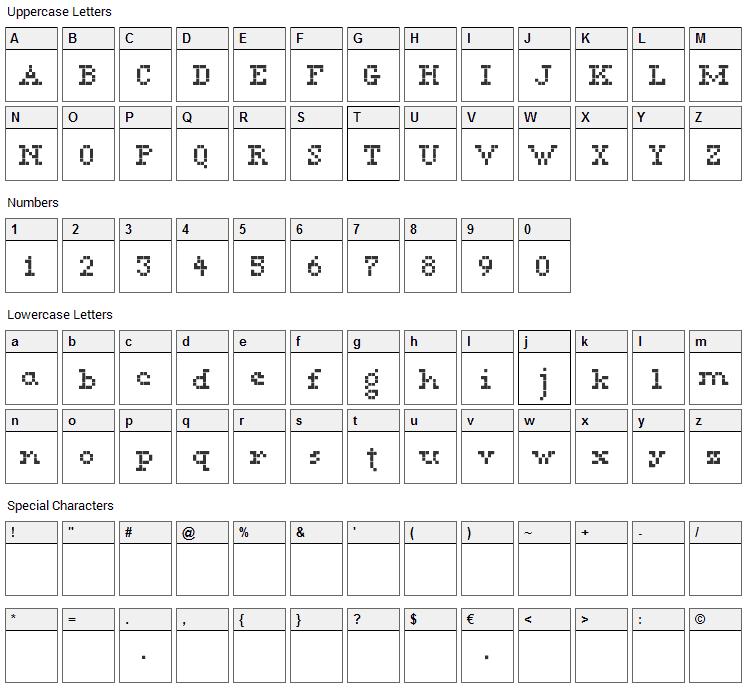 Megan Serif Font Character Map