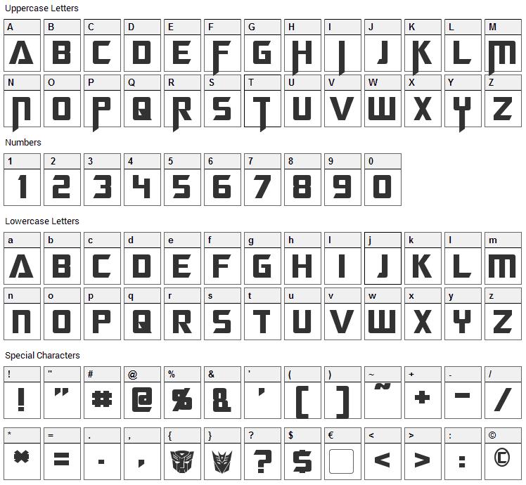 Megatron Font Character Map