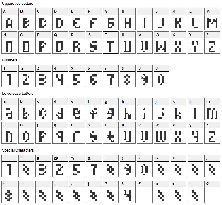 Megz Font Character Map