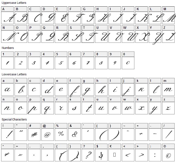 Meie Script Font Character Map