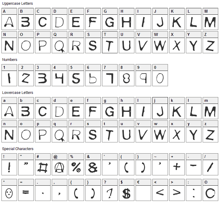 Meiry Font Character Map