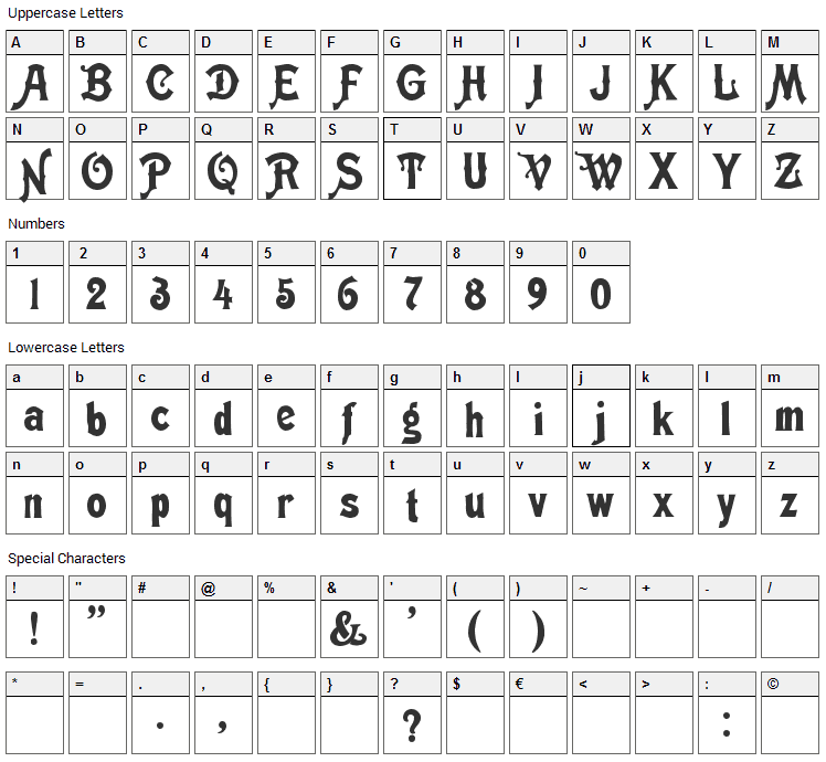 Meistersinger Shadow Font Character Map
