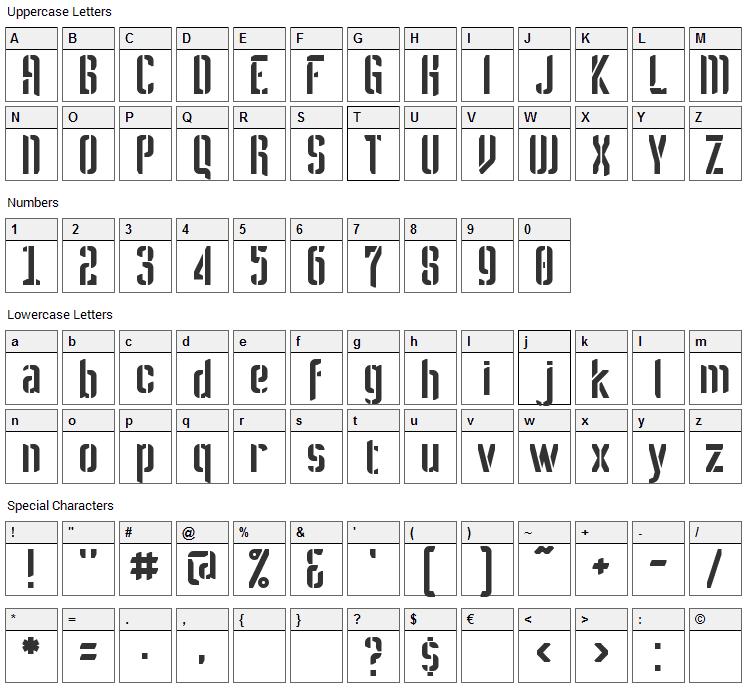 Melbylon Font Character Map