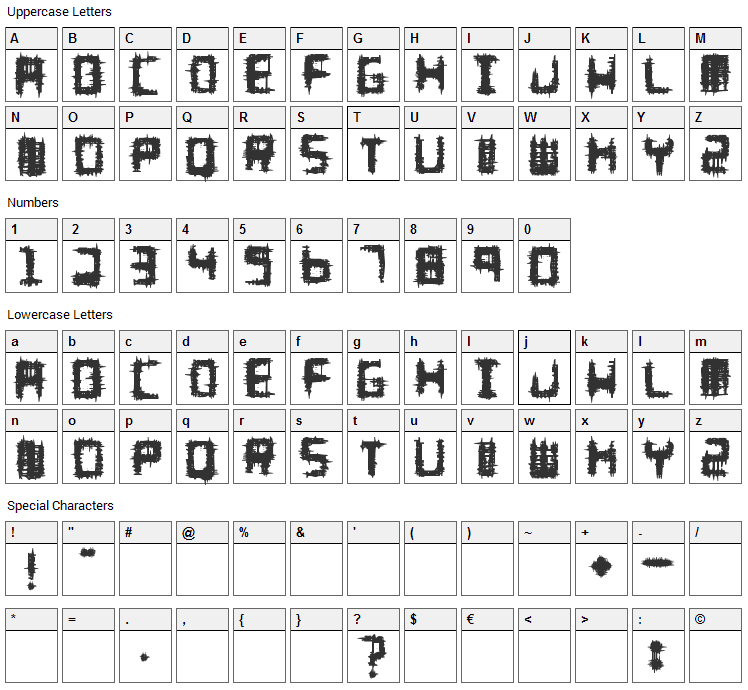 Melee Font Character Map