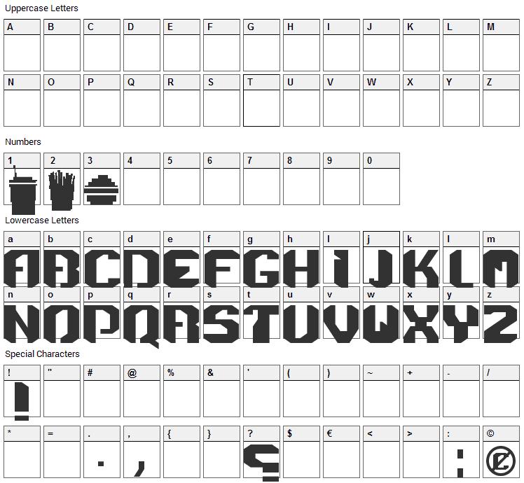 Menace Font Character Map