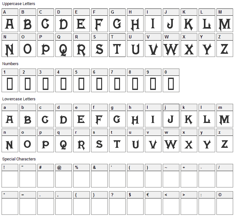 Mephisto Font Character Map