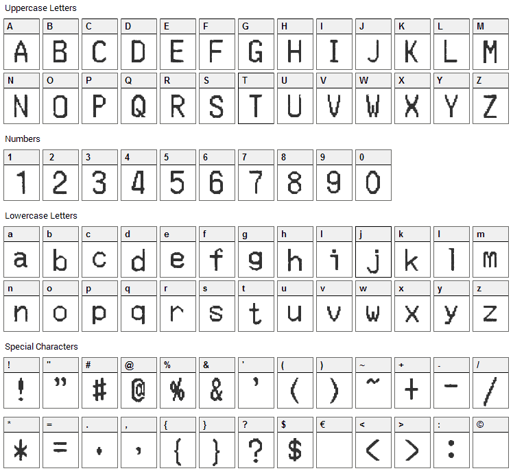 Merchant Copy Font Character Map