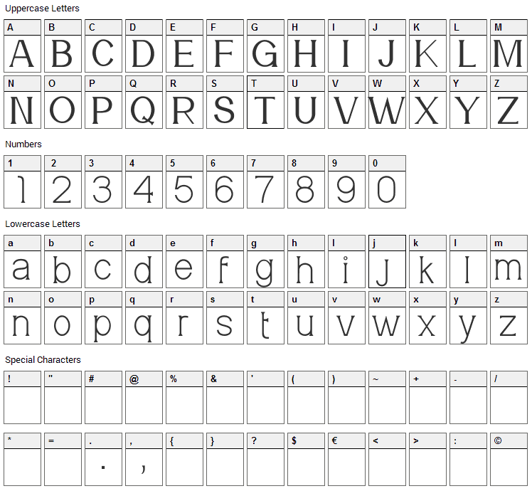 Meridian Font Character Map