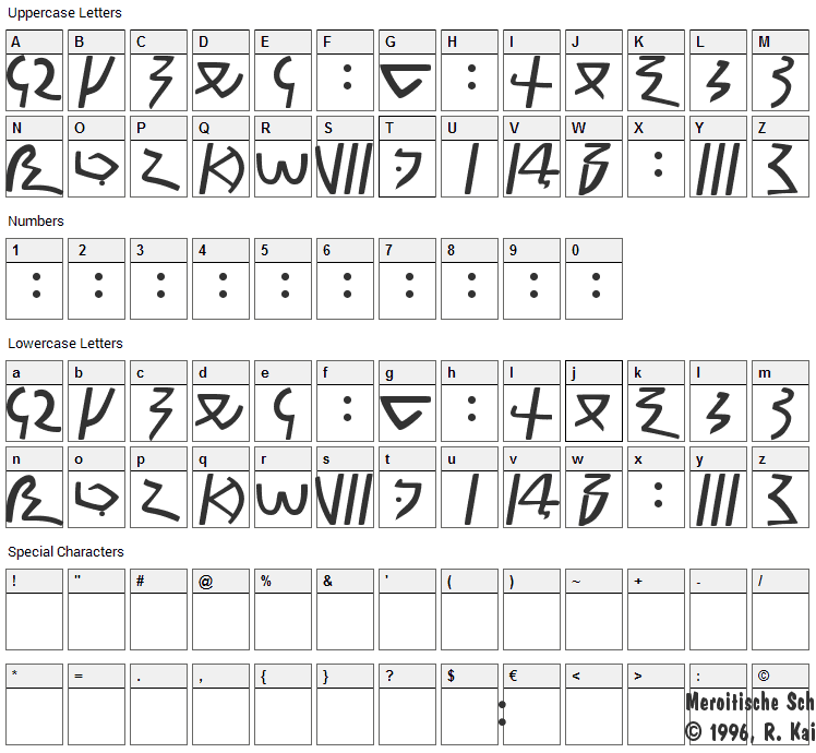 Meroitic Demotic Font Character Map