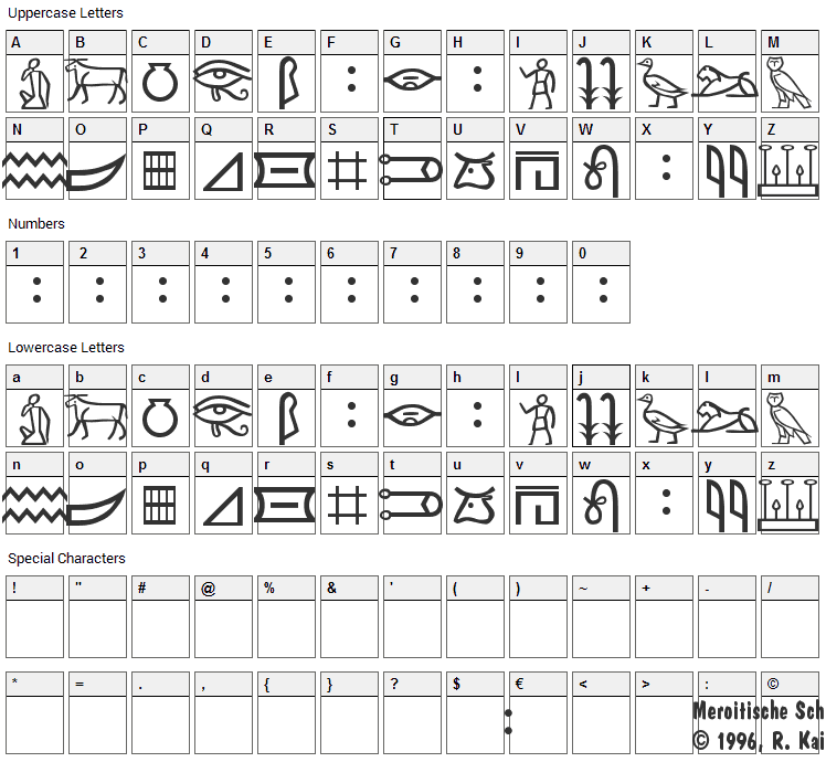 Meroitic Hieroglyphics Font Character Map