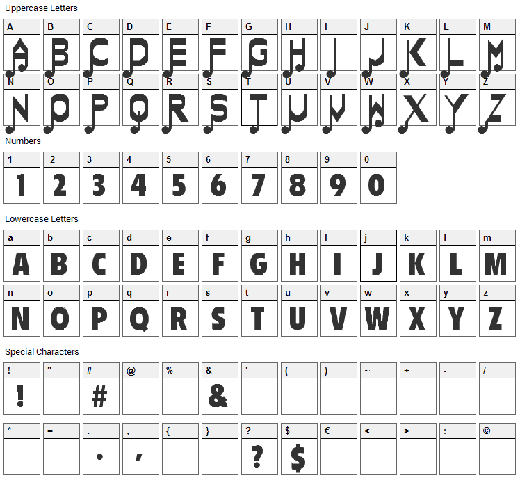 Merrie Melodies Font Character Map