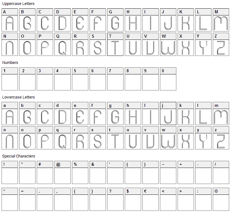 Mers Font Character Map