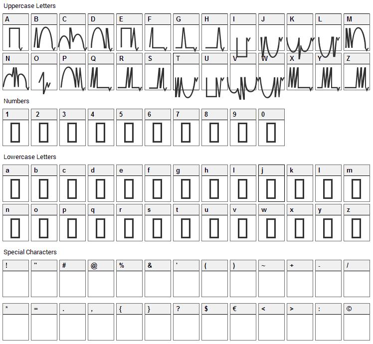 Mesa Analog Font Character Map