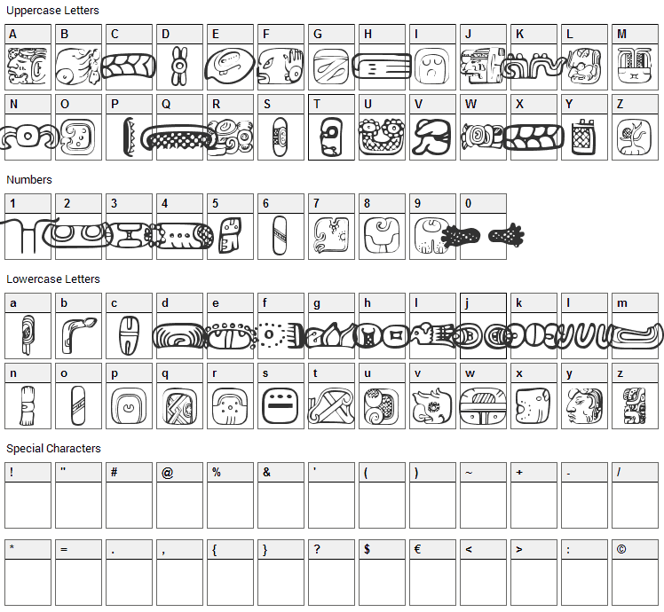 MesoAmerica Dings Font Character Map
