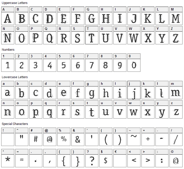 Messy Office Font Character Map
