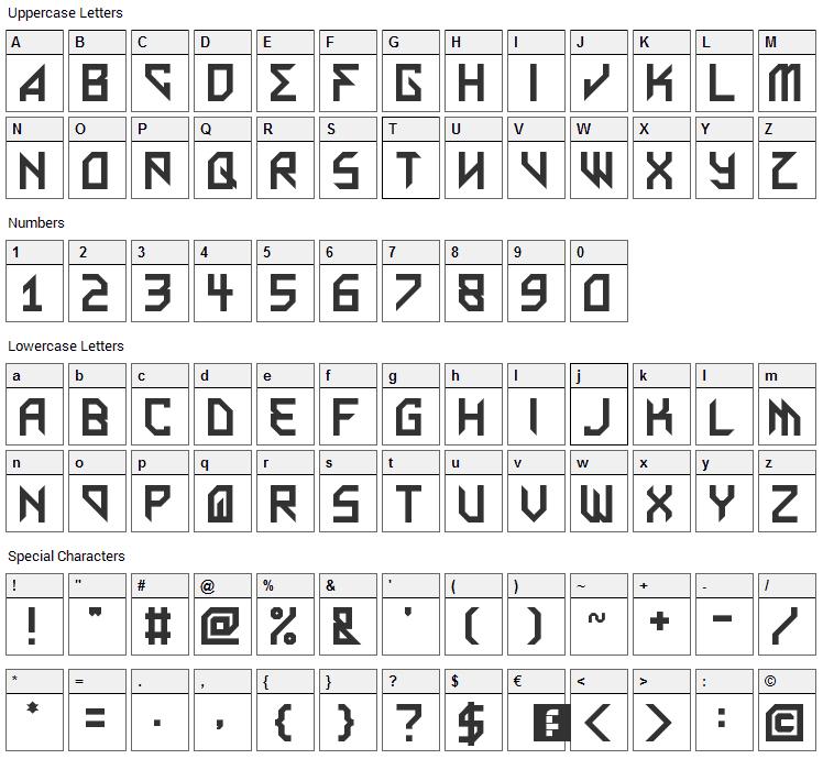Metal Arhythmetic Font Character Map