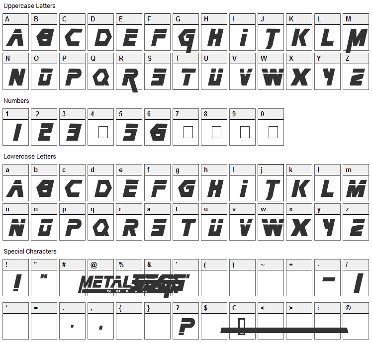 Metal Gear Solid Font Character Map